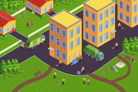 Isometric garbage composition with cleaning street sweep collect garbage clean the leaves vector illustration