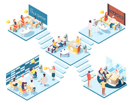 Talk show studios isometric composition with hosts and guests on white background 3d vector illustration