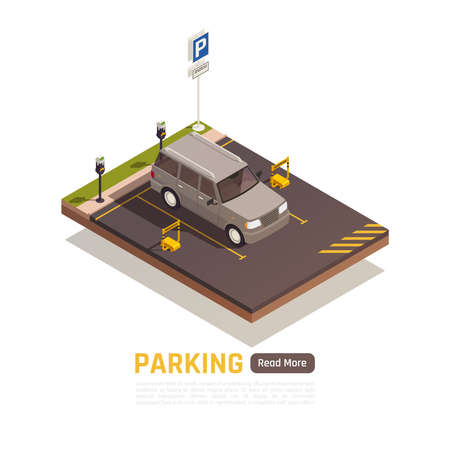 Reserved parking lot with authorized personnel only sign and parked four wheel drive vehicle vector illustration