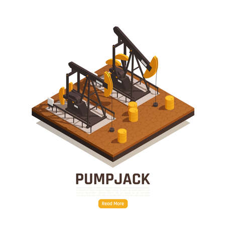 Natural resources oilfield technology pumping unit isometric web page with 2 pumpjacks and yellow barrels vector illustration