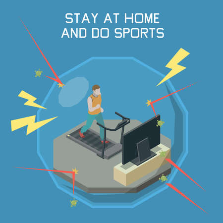 Stay at home concept with do sports symbols isometric vector illustration