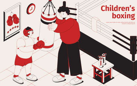 Kids boxing isometric poster with instructor showing exercises with punching bag to boy in gloves helmet and protective suit vector illustration