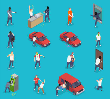 People committing crime isometric icons set with thieves kidnappers gangsters isolated on blue background 3d vector illustration