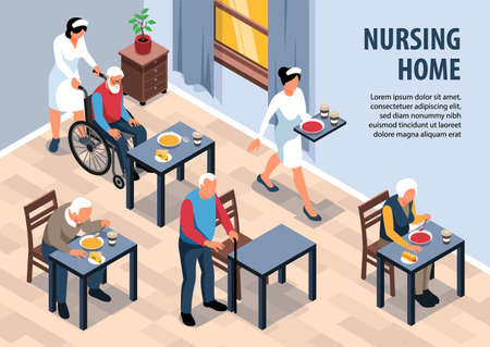 Isometric nursing home background composition with view of dining room in seniors complex with editable text vector illustration