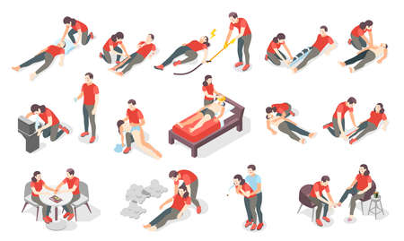First aid steps isometric set of icons and human characters providing first aid treatment to persons vector illustration  イラスト・ベクター素材
