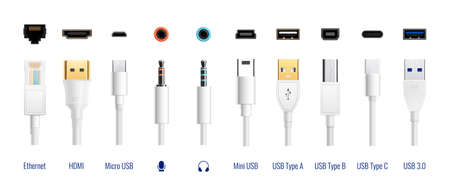 White usb types port plug in cables set with realistic images of connectors with text captions vector illustration Ilustracje wektorowe