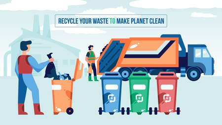 Waste recycling composition with editable text and view of garbage truck and collectors near waste bins vector illustration