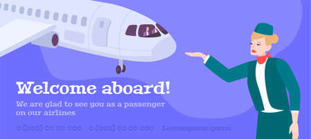 Airlines advertising banner with airplane image and stewardess inviting on board flat vector illustration  Illustration