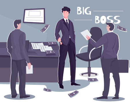 Chairman board composition with text and office scenery with doodle style characters of three company executives vector illustration Illustration