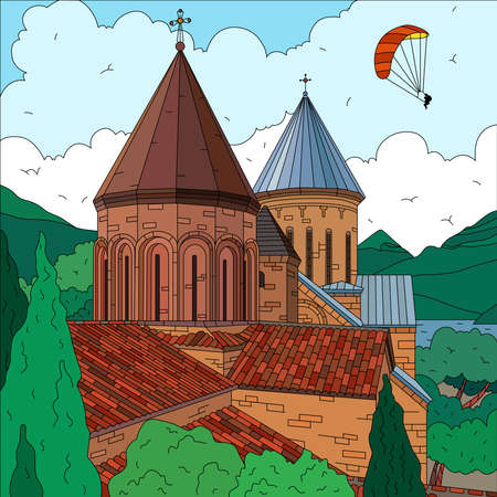 Flat landscape with church trees hills and flying parachute in background vector illustration