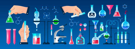 Flat icons set with various laboratory equipment and human hands holding flask tube isolated on white background vector illustration Ilustracja