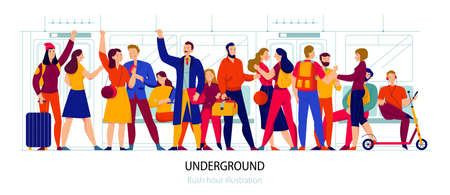 Public transport and underground concept with rush hour symbols flat vector illustration Ilustracja