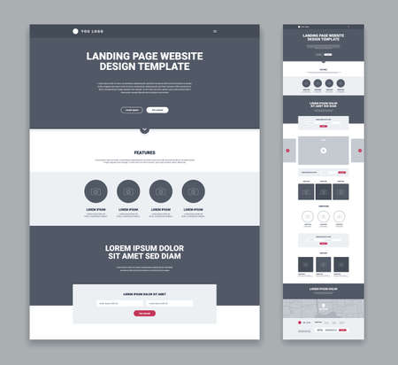 Landing page design template in grey and white color flat isolated vector illustration Ilustración de vector