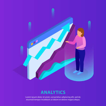 Business analytics application glow isometric background with virtual expert analyzing profitable trends 3d data flow diagram vector illustration