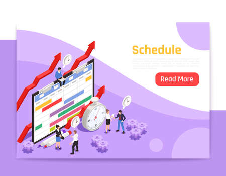 Time management landing page with alarm clock icon and people around big image of job schedule isometric vector illustration