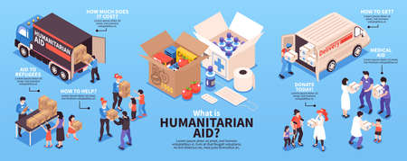 Humanitarian support isometric infographics with volunteers giving food and medicine to refugees 3d vector illustration