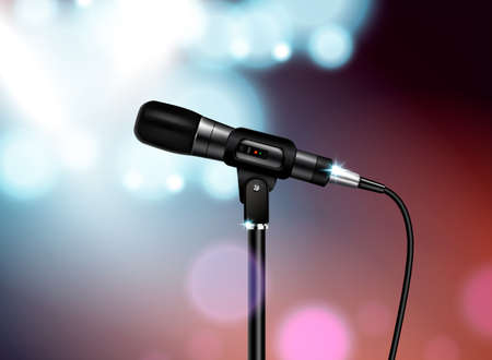 Professional microphone concert realistic composition with vocal mic image mounted on stand with colourful blurred background vector illustration Vektoros illusztráció