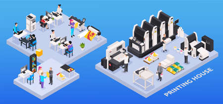 Printing house composition with polygraphy industry symbols isometric isolated vector illustration Vector Illustration