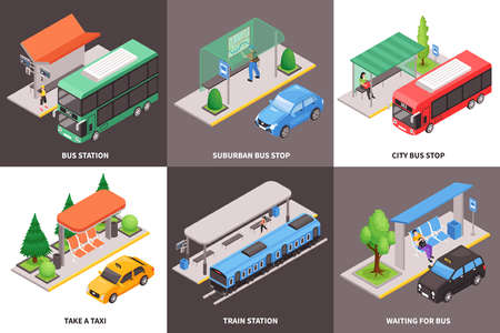 Isometric city public transport stop design concept with text captions and images of vehicles with passengers vector illustration Vecteurs