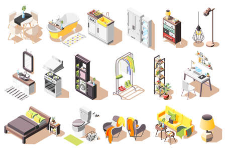 Loft interior icons collection of isolated images with modern style furniture for living rooms and bathroom vector illustration