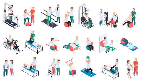 Physiotherapist practice rehabilitation medical center recovery exercises program equipment massage treatment isometric icons set isolated vector illustration
