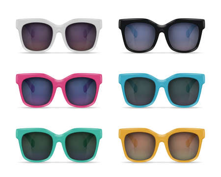 Set of isolated sunglasses realistic images on blank background with reflections and colourful models with shadows vector illustration