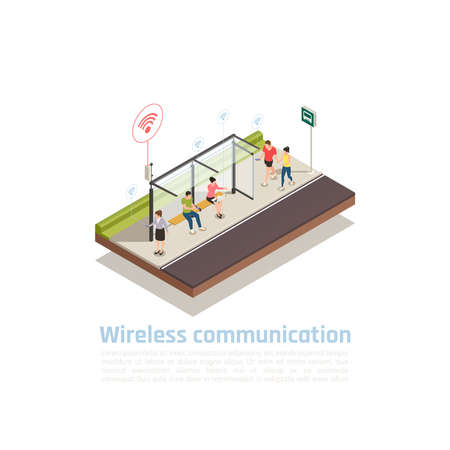Wireless communication isometric composition with people using gadgets for internet connection at public transport stop equipped with wifi vector illustration