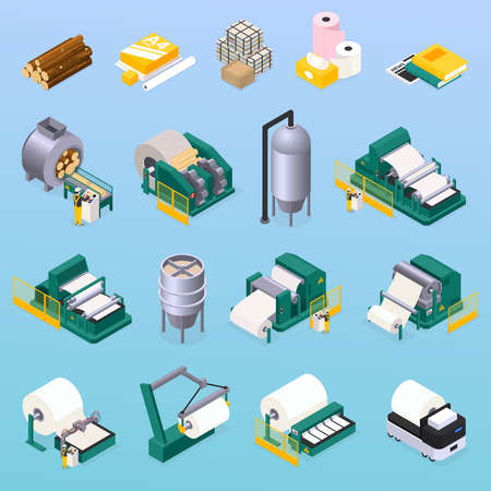 Paper production icons set with wood and press symbols isometric isolated vector illustration