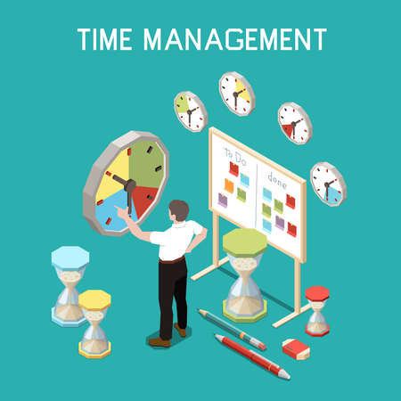 Soft skills isometric composition with time management concept and man at the work vector illustration