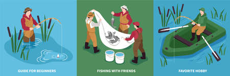 Isometric fishing design concept with set of square compositions with people fish tackle and inflatable boat vector illustration