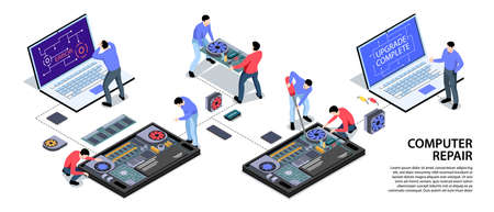 Laptop computer tablet smartphone repair support service isometric infographic horizontal banner with software upgrade installation vector illustration