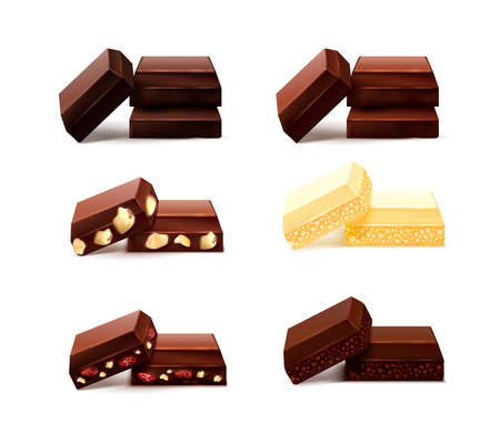 Chocolate pieces realistic set with isolated images of choc bits of different taste on blank background vector illustration