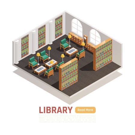 High school library hall with bookcases comfortable armchairs tables lamps isometric composition 3d vector illustration