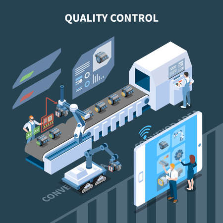 Smart industry intelligent manufacturing isometric composition with text and automatic assembly line operated remotely from tablet vector illustration 向量圖像