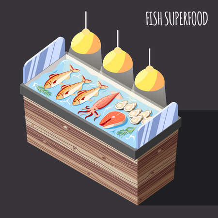 Fish superfood isometric background with fresh products on ice counter vector illustration