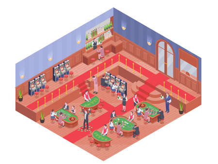 Casino hall with bar and people playing different gambling games isometric composition 3d vector illustration Ilustracja