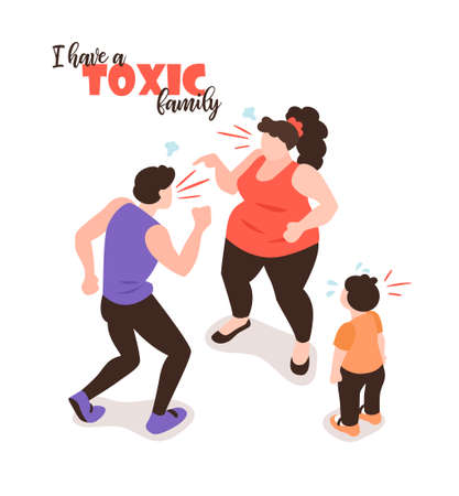 Isometric positive and negative parenting background with isolated images human characters of yelling parents and child vector illustration
