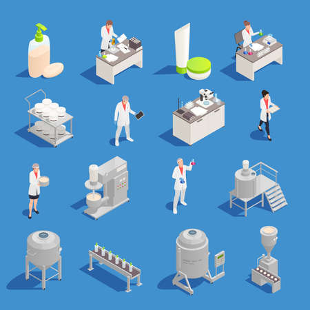 Cosmetics and detergent production isometric icons set with factory and laboratory equipment isolated vector illustration