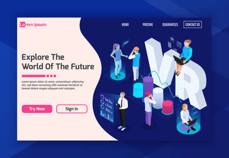 Virtual augmented reality 360 degree isometric background for website landing page woth clickable buttons and text vector illustration Ilustração Vetorial