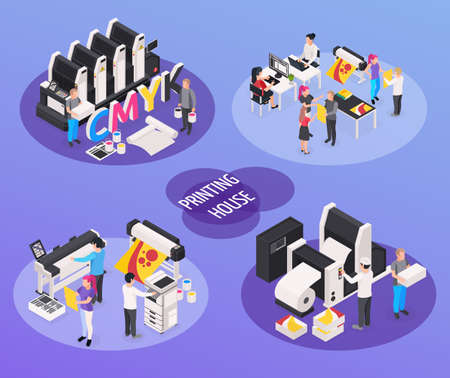 Printing house concept icons set with polygraphy and press symbols isometric isolated vector illustration Vettoriali