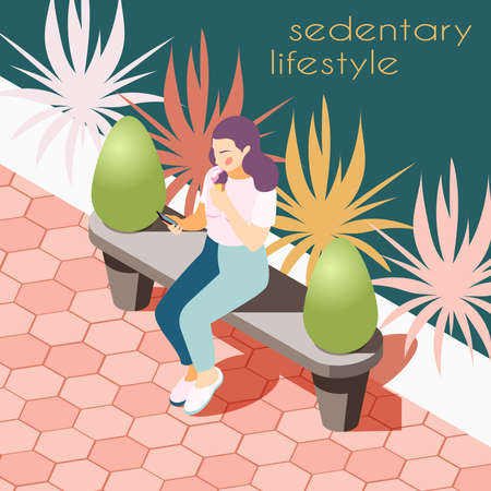 Sedentary lifestyle isometric background with view of park way with bench and sitting female human character vector illustration Illustration
