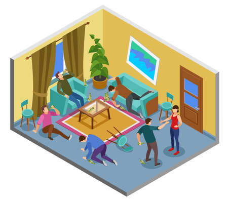 Alcoholism addiction isometric composition with problem uncontrollable drinking home people fighting abusing spouse falling unwell vector illustration Ilustración de vector