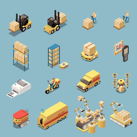 Isometric icons set with warehouse equipment and transport for goods delivery isolated on blue background 3d vector illustration