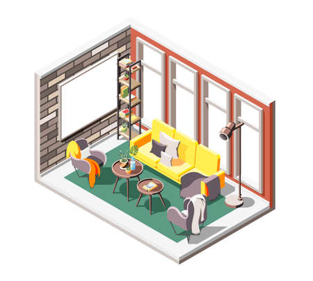 Loft interior isometric composition with indoor drawing room environment with soft seats windows and projection screen vector illustration 向量圖像