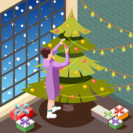 Christmas eve in cozy home interior isometric background with female person decorating holiday tree vector illustration