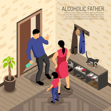 Alcoholic father incoming in apartment with bottle in hand and mother with child isometric vector illustration