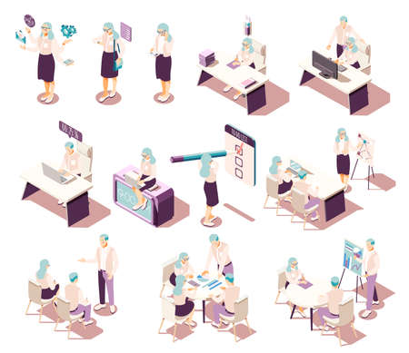Effective management isometric icons collection with isolated human characters furniture and conceptual pictograms with productivity items vector illustration