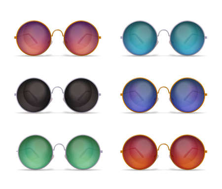 Set of isolated sunglasses realistic images with six different models of colourful round shaped sun goggles vector illustration Illustration