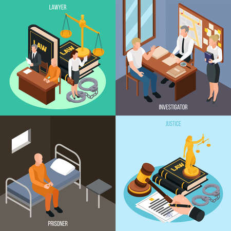 Law justice 4 isometric concept compositions with investigation convict prison cell court proceedings accessories isolated vector illustration  Illusztráció