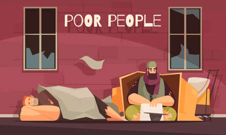 Poor people living in cardboard box outdoor begging for money flat banner with homeless men vector illustration